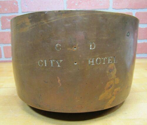 Antique C D CITY HOTEL Large Copper Dovetail Pot Handle Advertising Kitchenware
