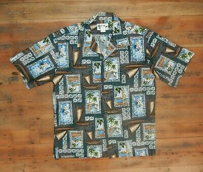 HOWIE Hawaii Sailing HAWAIIAN SHIRT Surf Surfing Beach Vacation Sz Men's MEDIUM