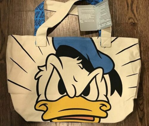 """Disney Store Authentic Donald Duck Happy Angry BIG Canvas Tote Bag Purse 13""""x19"""""""