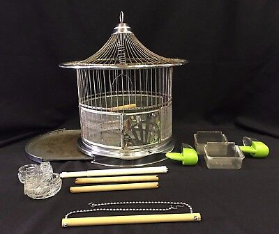 Vintage Hendryx Bird Cage Round Chrome w/ Two Glass Water Bowls and Accessories