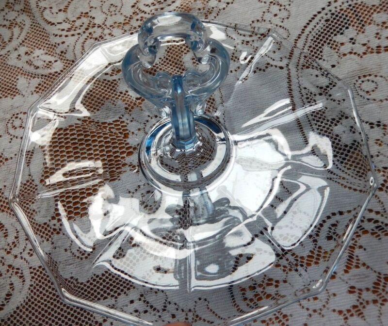 "Cambridge Glass Decagon Moonlight Blue 10-1/4"" Sandwich Tray~1930"