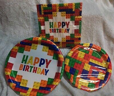 Birthday Party Kit Lego inspired Building Blocks PAPER PLATES & NAPKINS - 58 Pc