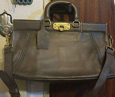 Vtg. Authentic RARE PRADA Deer Leather Bag Doctor Bag Style in Great Condition