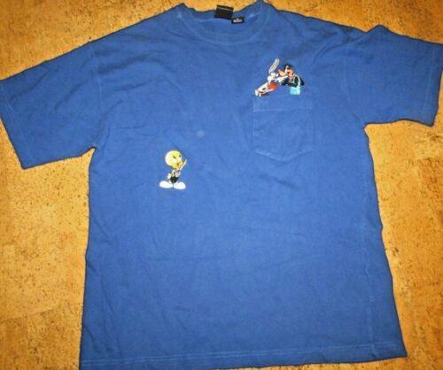 Tweety Bird Looney Tunes Basketball Warner Bros Blue Shirt M