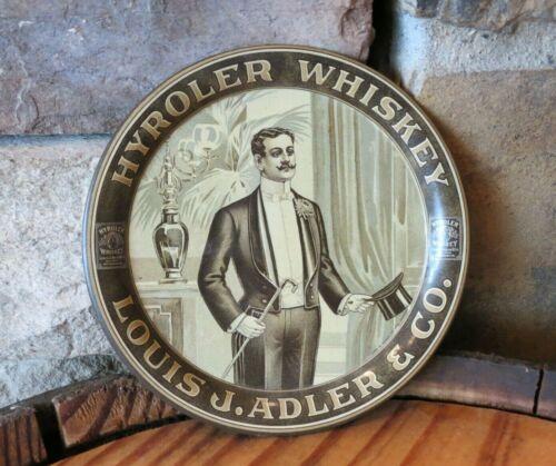 "Antique Pre-Prohibition Hyroler Whiskey Tip Tray, 4.25"" Diameter, Vintage"