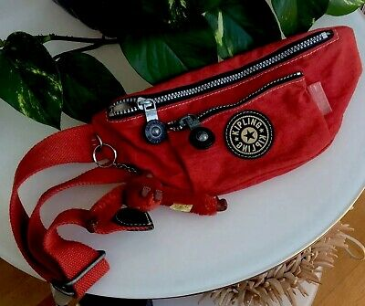 Kipling Red Nylon Canvas BumBag Waist Bag +Monkey Keyring BNWOT