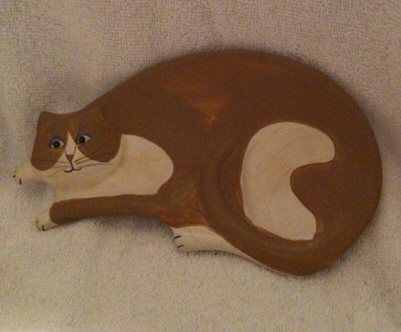 "Sakura Cat Warren Kimble Ceramic Tan And Off White Flat Dish ~ 8-1/4"" Long"
