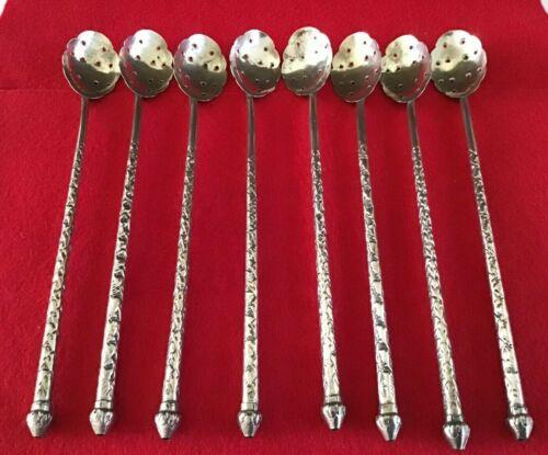 8 Antique Sipper Straw Lemonade Spoons