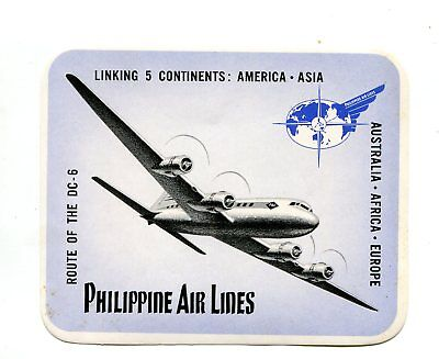 Vintage Airline Luggage  Label Philippine Air Lines Pal Dc 6 Linking 5 Continent