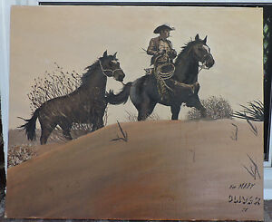 Vintage Western COWBOY Two HORSES Desert LANDSCAPE Sgd. Painting for Mary c1977