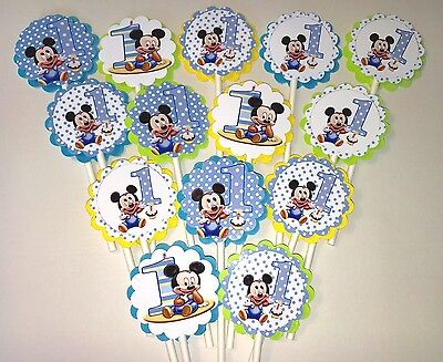 30 BABY MICKEY MOUSE Cupcake Toppers Birthday Party Favors, Party Decorations - Baby Mickey Party Decorations