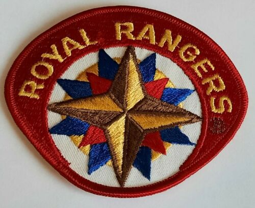 """Royal Rangers 4"""" x 3.5"""" Embroidered Insignia Patch Red White Blue Gold"""