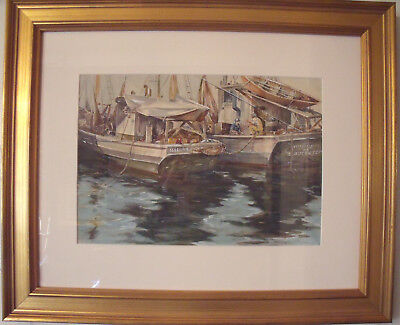 """F.F. KUCHENMEISTER """"GLOUCESTER FISHING BOATS"""" WATERCOLOR CUSTOM GOLD FRAME"""