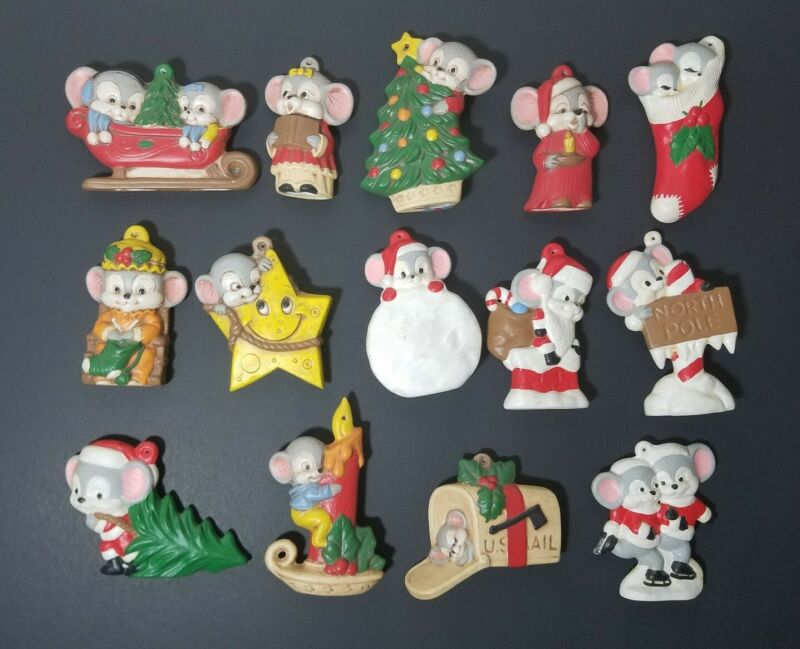Vintage Hand Painted Ceramic Christmas Mouse Tree Ornaments - Lot of 14 Mice