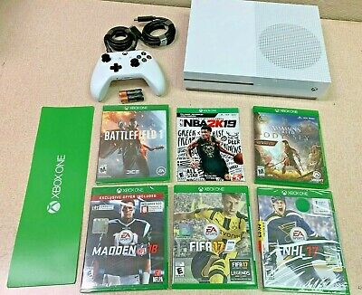 Microsoft Xbox One S 1TB White Console SIX Game Bundle + Controller! 😲🔥🔥