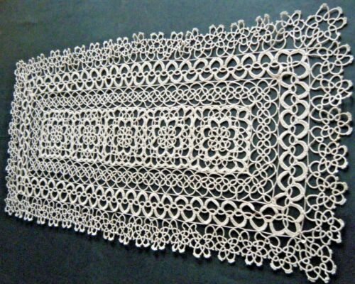 Antique large Table Runner Tatting Lace large size  beige color pure cotton 19c