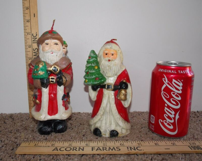 Lot of 2 Vintage Christmas SANTA CLAUS Wax Candles Figures Unlit