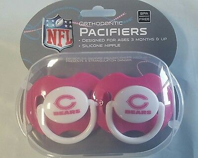 Chicago Bears Pink Baby Infant Pacifiers New   2 Pack Shower Gift  Girls