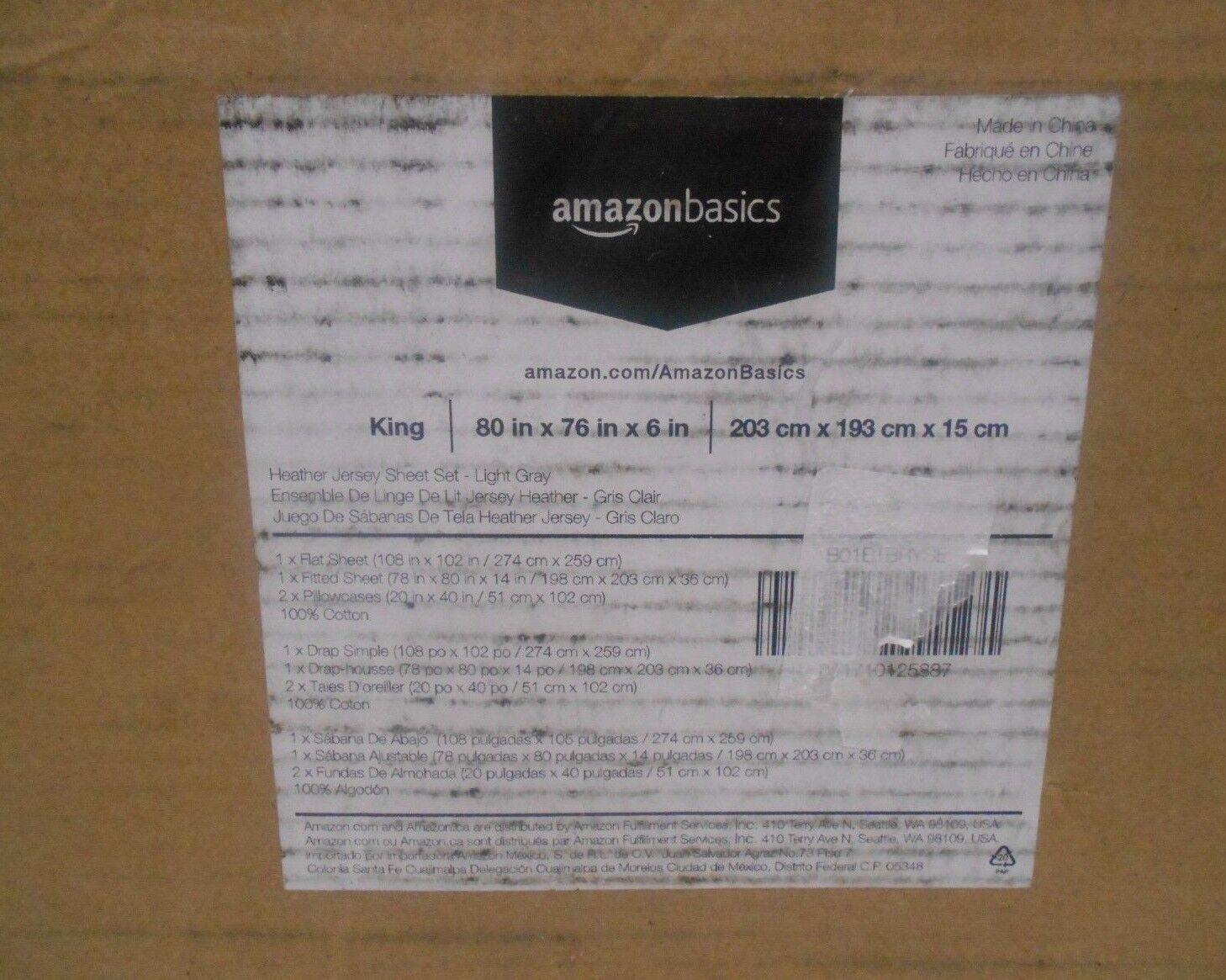 AmazonBasics Heather Jersey Sheet Set - King Light Gray