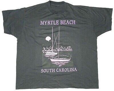 Vtg Best Fruit Of The Loom Single Stitch Mens 3XL Myrtle Beach Black Sail