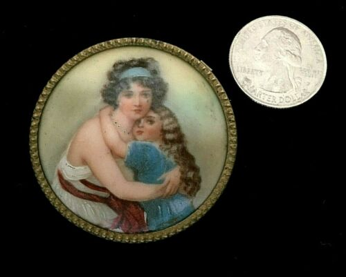 Antique MINIATURE Porcelain PORTRAIT Transfer PIN Attributed to JENNY SAVY. 1800