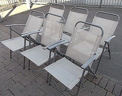 6 Semi Reclining Folding Metal Garden Chairs  -  Buyer to collect