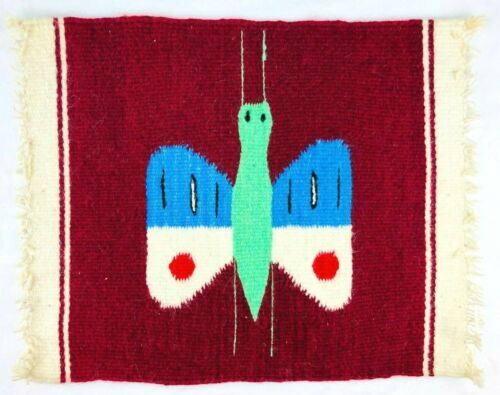 """Vintage Native American Small Rug Display Mat Textile  18""""x15"""" Butterfly   *S"""