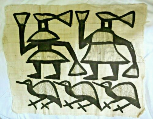 Vintage African Senufo Korhogo Mud Cloth Handmade People Birds Woven Textile