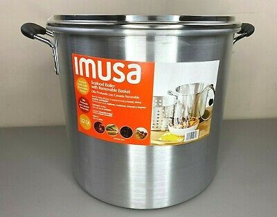 IMUSA 32Qt Stainless Steel Seafood Boiler With Removable Basket - New