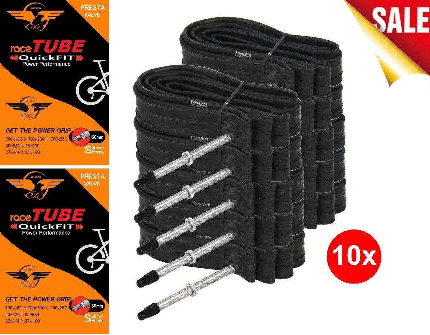2-PACK 700x18-25c 48-60-80 mm Threaded PRESTA Valve Bicycle Inner Tubes Road