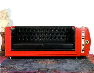 Red British Phone Booth Couch England Furniture Telephone Style Fufted