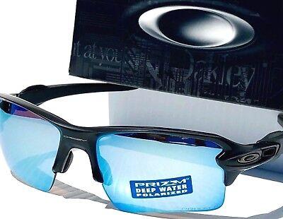 19d45d63039 NEW  Oakley Flak 2.0 Matte Black POLARIZED Deep Water Angler lens Sunglass  9188