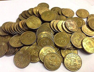 10 x $1 Seattle City Park transit & parking tokens, 22.5mm brass, Seattle WA