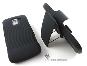 BLACK HARD CASE COVER BELT CLIP HOLSTER VERIZON LG ENLIGHTEN L75C ACCESSORY