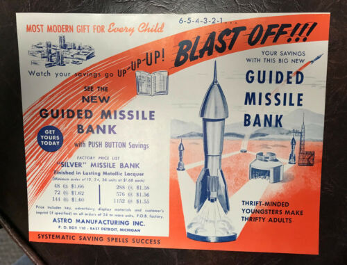 ORIGINAL ASTRO BANK SALES LITERATURE FLYER ASTRO MANUFACTORING INC