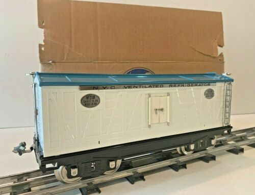 MTH STANDARD GAUGE LIONEL 214R NYC WHITE & BLUE W/ NICKEL TRIM REFRIGERATOR CAR