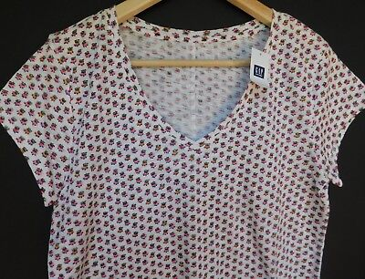 NWT GAP Women's Easy V-Neck White Floral T-Shirt Rounded Hem XS S M NEW