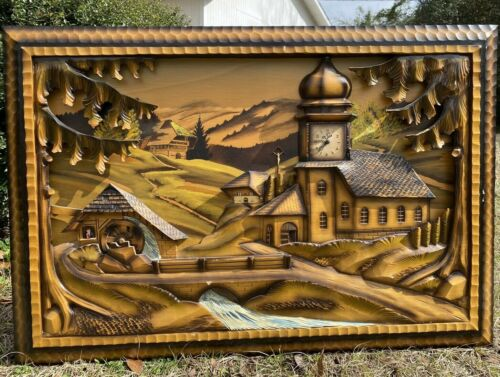 "VTG Germany Black Forest Hand Carved Wood 3D Scenic Wall Art Picture 32"" x 22"""