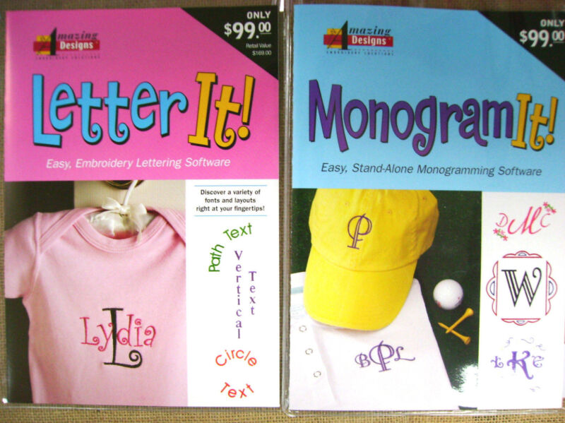 Amazing Designs Letter It ! & Monogram It ! Embroidery Software Combo Package
