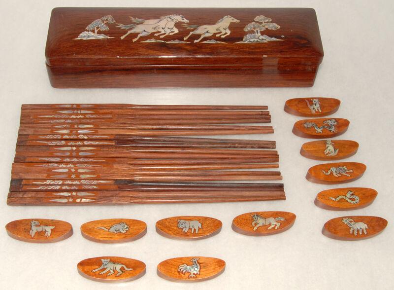 Handmade WOOD & Inlaid Abalone - Chinese Zodiac - CHOPSTICKS, Rests & BOX *RARE