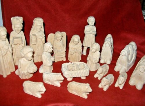 Wooden Hand Carved Nativity Scene 20 Pieces