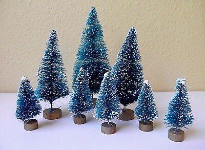 Set of 8 Mini Green Sisal Bottle Brush CHRISTMAS TREES ~ Snow Frost Village Putz