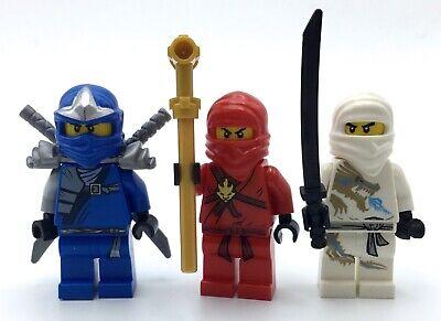 LEGO LOT OF 3 MINIFIGURES NINJAGO KAI RED ZANE NINJA FIGURES WITH WEAPONS