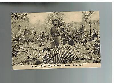 1920 BELGIAN CONGO RPPC COVER TO BELGIUM POSTCARD HUNTER WITH ZEBRA