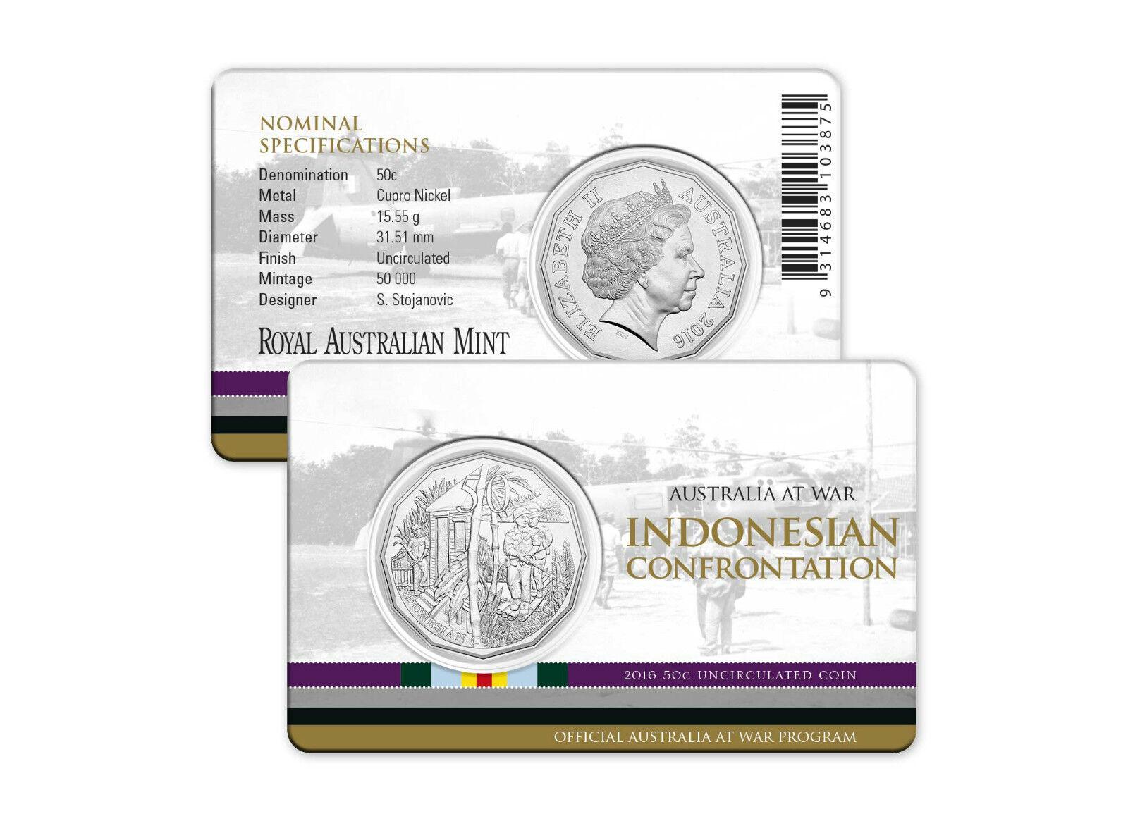 Indonesian Confrontation Australia at War 2016 RAM 50 cent UNC Coin