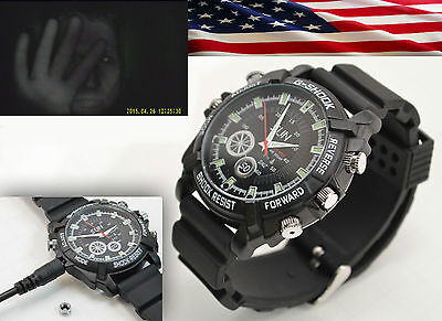 1080p Waterproof Spy Watch Infrared Night Vision Camera Video Audio IR Enhanced