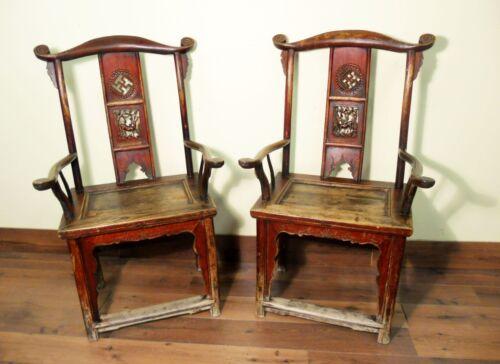 Antique Chinese High Back Arm Chairs (5570) (Pair), Circa 1800-1849