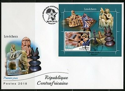 CENTRAL AFRICA 2018 CHESS PIECES MAGNUS CARLSEN SOUVENIR  SHEET FIRST DAY COVER
