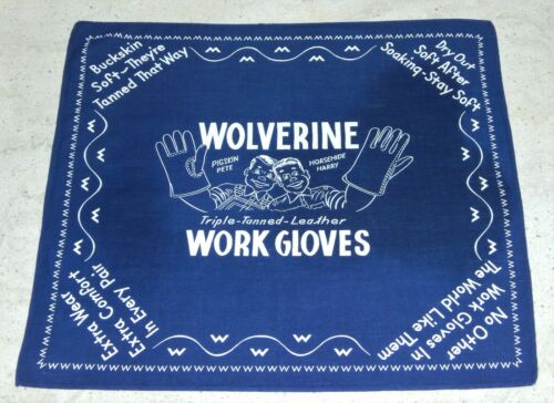 Vintage Old Wolverine Leather Work Glove Advertising Bandana Scarf Handkerchief
