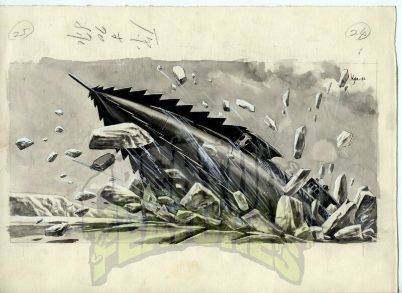 20,000 LEAGUES UNDER THE SEA Original Art NAUTILUS Japanese Storybook x5 DISNEY